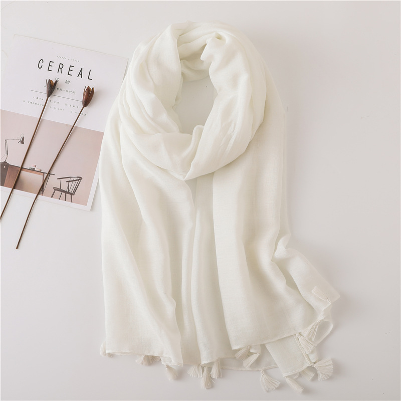 Marte amp Joven Elegant Beige White Pink Soft Warm Scarf Pashmina with Tassel Fashion Spring Voile Shawls Pure Color Big Size Hijab in Women 39 s Scarves from Apparel Accessories