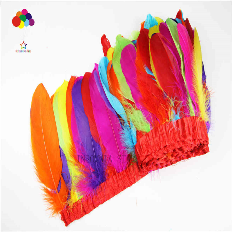 The new 2 meter long color goose feathers feathers made of cloth cloth DIY dress skirt accessories decoration in Feather from Home Garden