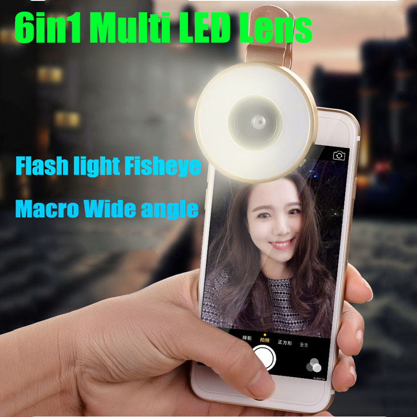 Fashion 6in1 LED Flash Light Fisheye Lenses Wide Angle Macro Phone Camera Lens For iphone 4 4s 5 5s 5c SE 6 6s 7 Plus gionee m6