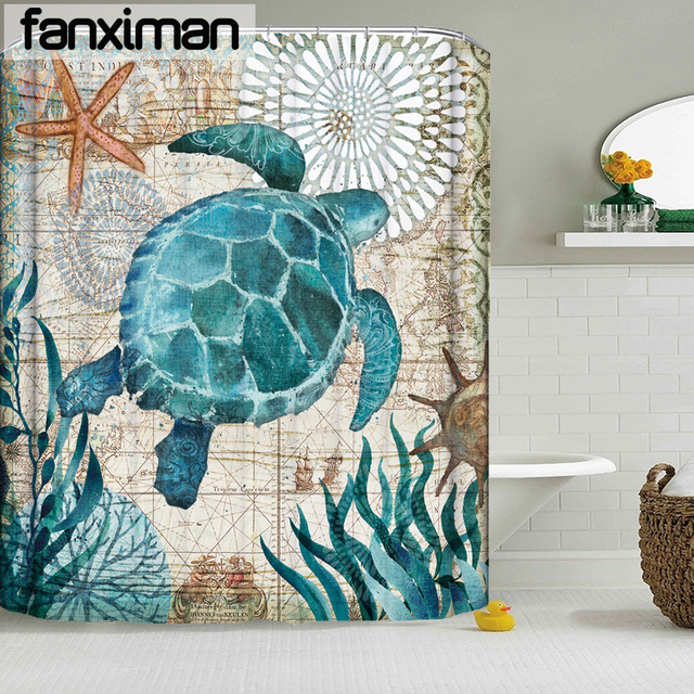 Waterproof Shower Curtain Octopus Sea Turtle Seahorse Home Bathroom Curtains With 12 Hooks Polyester Fabric Bath