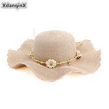 XdanqinX 2019 New Summer Adult Womens Sun Hat Breathable Straw Hats Super Large Flower Headdress Decoration Beach For Women