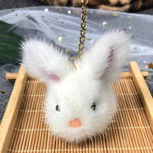 6cm Cute Real Mink Fur Mini Rabbit Keychains Bag /Car Plush Pendant Keyrings Bunny Key Chain Rings 4 Colors fashion really mink fur small rabbit pendant car key chain bag ornaments play dead rabbit type pet playmate mink fur accessories