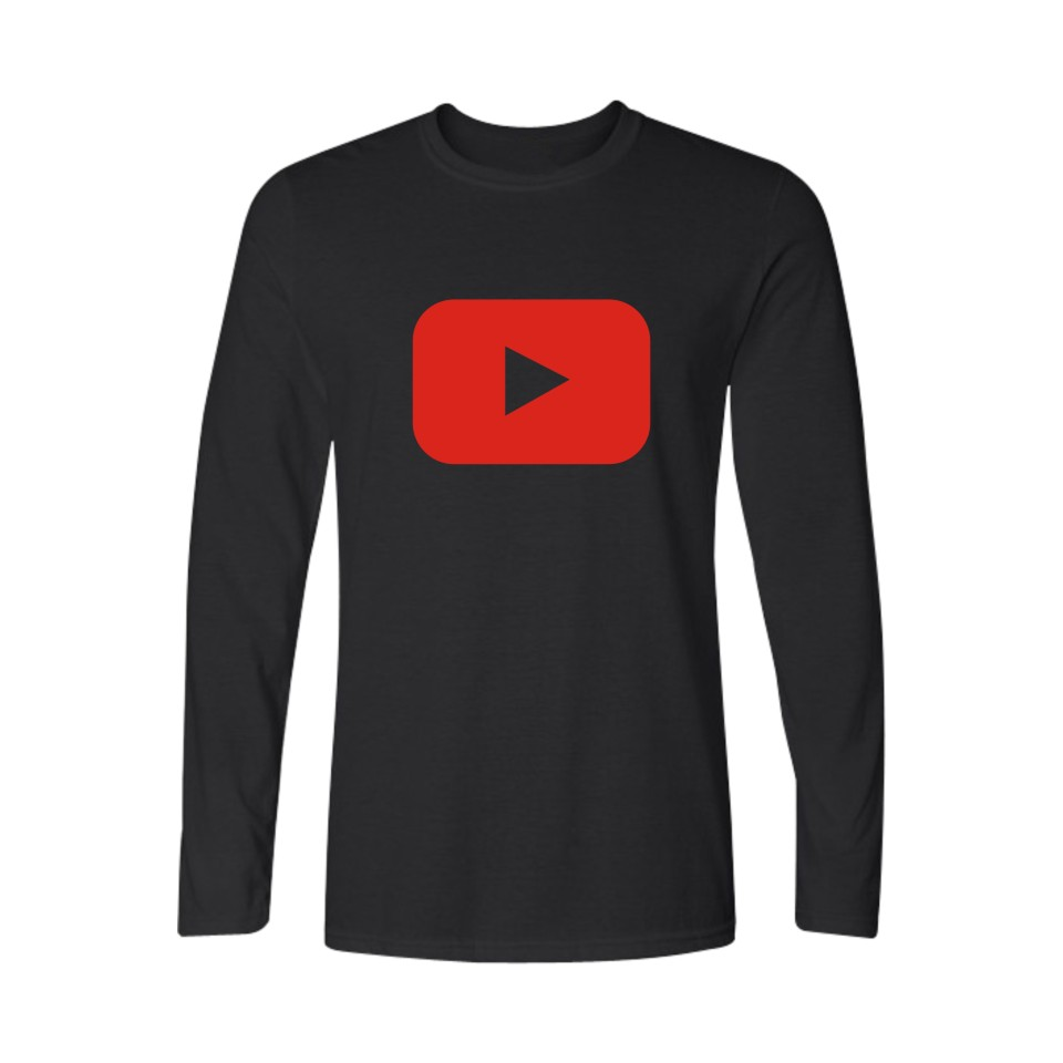 Design t shirt youtube - New Fashion Youtube Logo Print Brand Tops Cotton Long Sleeve Summer T Shirts Casual Custom Hip