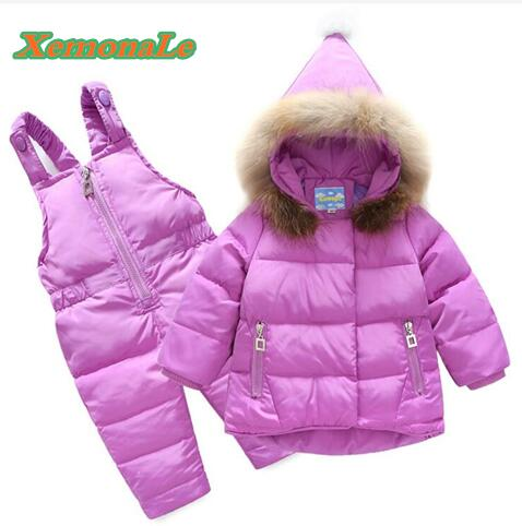2017 Boys Ski Suit Brand Winter Children Clothing Set For Girls Jacket Coat + Overalls Warm Down Snowsuit Baby Girl Kids Clothes 2016 winter boys ski suit set children s snowsuit for baby girl snow overalls ntural fur down jackets trousers clothing sets