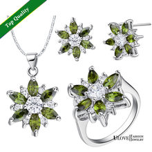 bridal Jewelry sets 18K White Gold Plated CZ Flower Jewelry Sets Silver Wedding Necklace Earrings Rings(China)