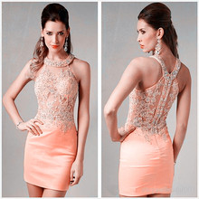2015 New Fashion Homecoming Dresses Sexy Halter Mini Pink Chiffon Crystal Bodice Short Prom Dress Party Cocktail