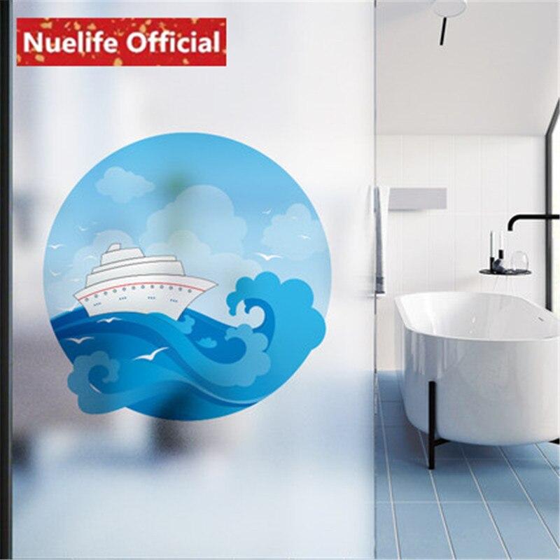 Creative blue sky white clouds seagull pattern glass film bathroom kitchen kids room living room balcony door and window door