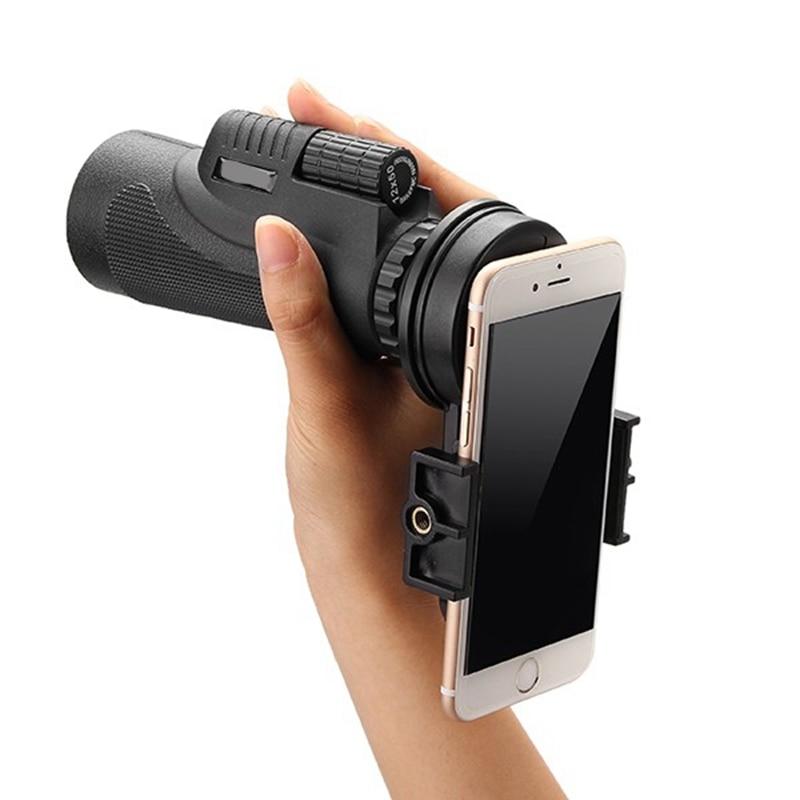 imágenes para 12x50 Senderismo Concierto Telescopio Monocular Lente de La Cámara Con Soporte Universal Para iPhone Smartphone Lente de La Cámara de Vista Círculo