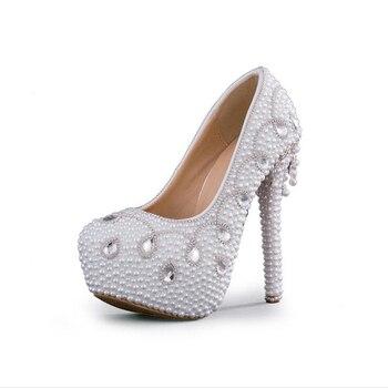 Nicest Handamde White Pearl Wedding Pumps Fashion Women Spring Dress Shoes Bride Shoes Bridal High Heels Formal Shoes