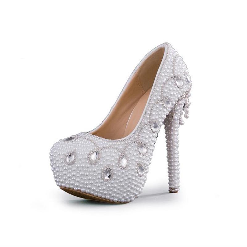 LEIT Chaussures pour Femmes Chaussures Fines 14 cm Talons Hauts Chaussures de Mariage Perle Blanche Plate-Forme Chaussures,34,White