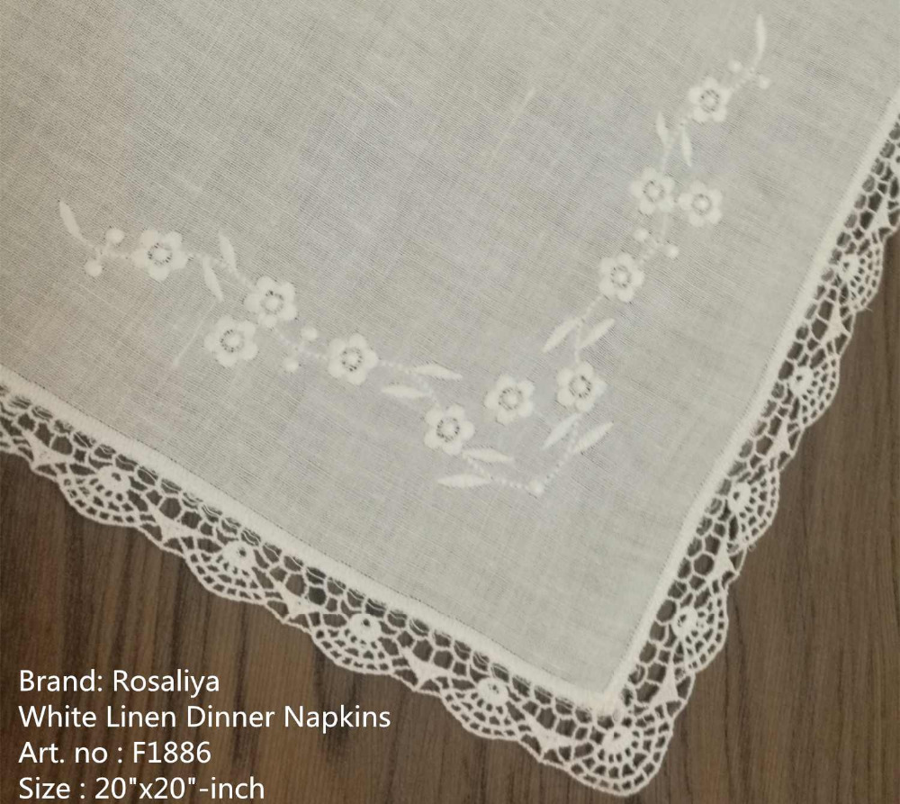 Set Of 50 Handkerchiefs Hankie Linen Table Napkin Dinner Napkins Wedding Hanky Lace Edges Embroidered Luch & Tea Napkins 20-inch