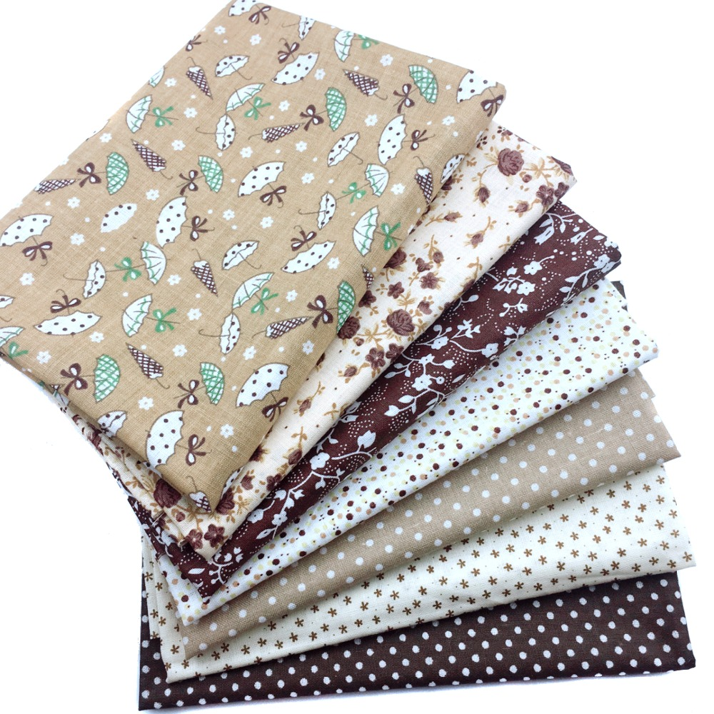 Floral Series Patchwork Plain Cotton Fabric Quit Fabric Bundle Sewing Fabric For DIY Woman Bags,Pillow Toy 7pcs Brown Color Set