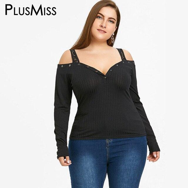 65d7c077b65dac PlusMiss Plus Size 5XL Sexy Lace Cold Shoulder Top Women Clothing Long  Sleeve Black Blouse Shirt Big Size Blusas Femme Oversized