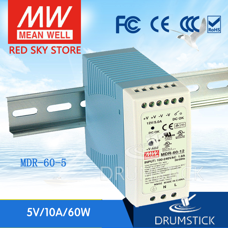 Best-selling MEAN WELL original MDR-60-5 5V 10A meanwell MDR-60 50W Single Output Industrial DIN Rail Power Supply [freeshiping 12pcs] mean well original mdr 40 24 24v 0 83a meanwell mdr 40 39 8w single output industrial din rail power supply