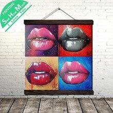Четыре Различных Сексуальных Губы Свиток Живопись Холст Старинные Плакаты Печать Стены Искусства