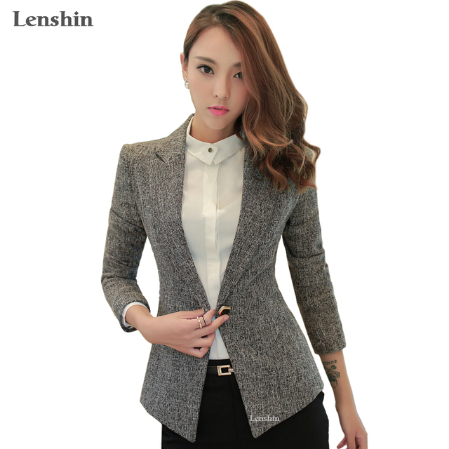 61a91ebea23 Lenshin Soft Cotton Jacket High Quality Fashion Gray Women Blazer Casual Wear  Long Sleeve Coat Feminine Clothes Ladies Vogue Top
