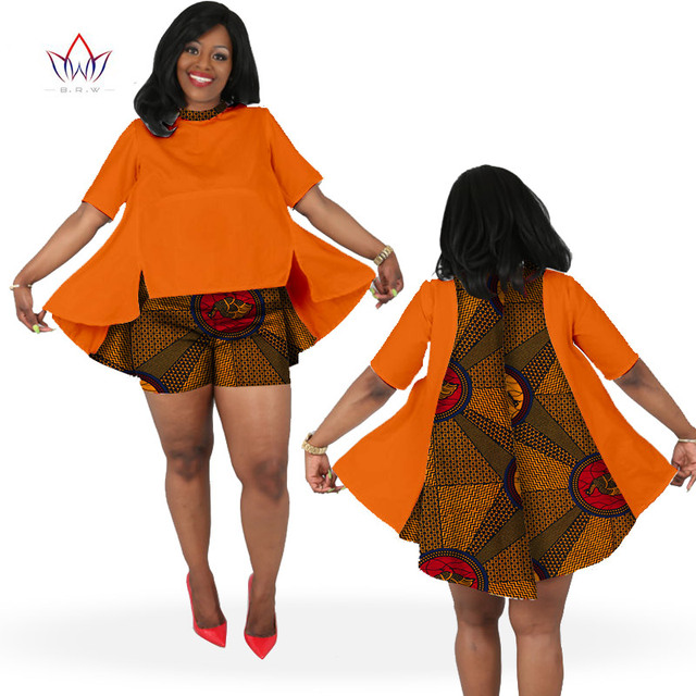 f931ae6aab607 2019 African Print Summer Sets for Women Bazin Plus Size African Set Tops +  Shorts Women Traditional african clothing WY613