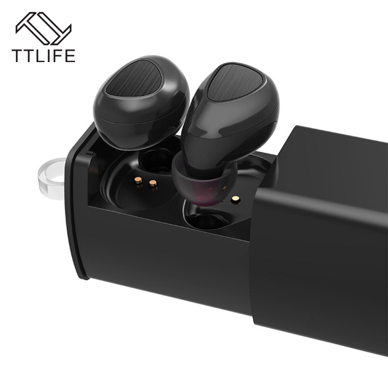 TTLIFE True Wireless Bluetooth 4.1 Stereo Earphone TWS Sports Hands Free eARBUD Style Headphone with Charge Box for Phone 7
