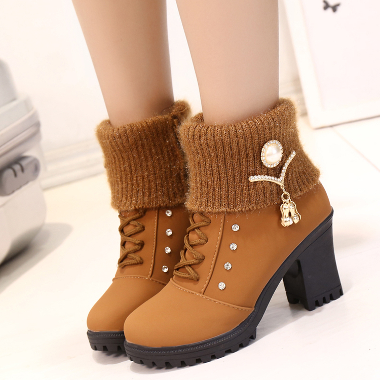 HYLXJ women high heel ankle boots winter snow warm shoes
