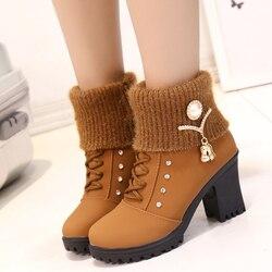 2017 quente moda feminina de salto alto metade curto tornozelo botas inverno neve botas moda calçados saltos quentes sapatos de inicialização
