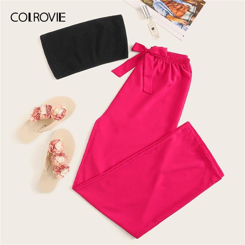 COLROVIE Bandeau With Neon Pink Pants PJ   Set   2019 Summer Stretchy Sexy Sleepwear Women Long   Sets   Ladies Strapless   Pajama     Set