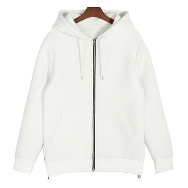 Neoprene unique oversized hoodie men side split extended long zip ...