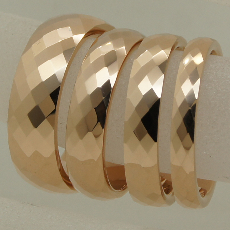 3mm width rare women/girl rose gold plating multi facet tungsten ring - Fashion Jewelry - Photo 6