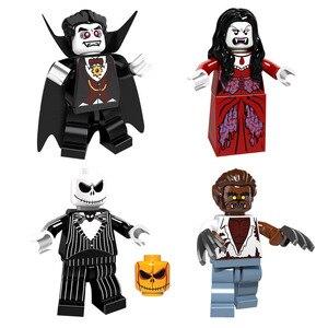 Image 3 - Halloween Mini zabawka rysunek dyniowa głowa duch Moster Fighter bezgłowy jeździec wampir Zombie klocki do budowy