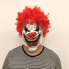 Horror big red nose  toothy mouth hair Clown Mask Classic Movie Ghost Festival Headgear Funny Tricks Props Halloween