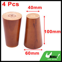 Office Wood Furniture Cabinet Sofa Legs Replacement Brown 4 Inch Height 4 Pcs