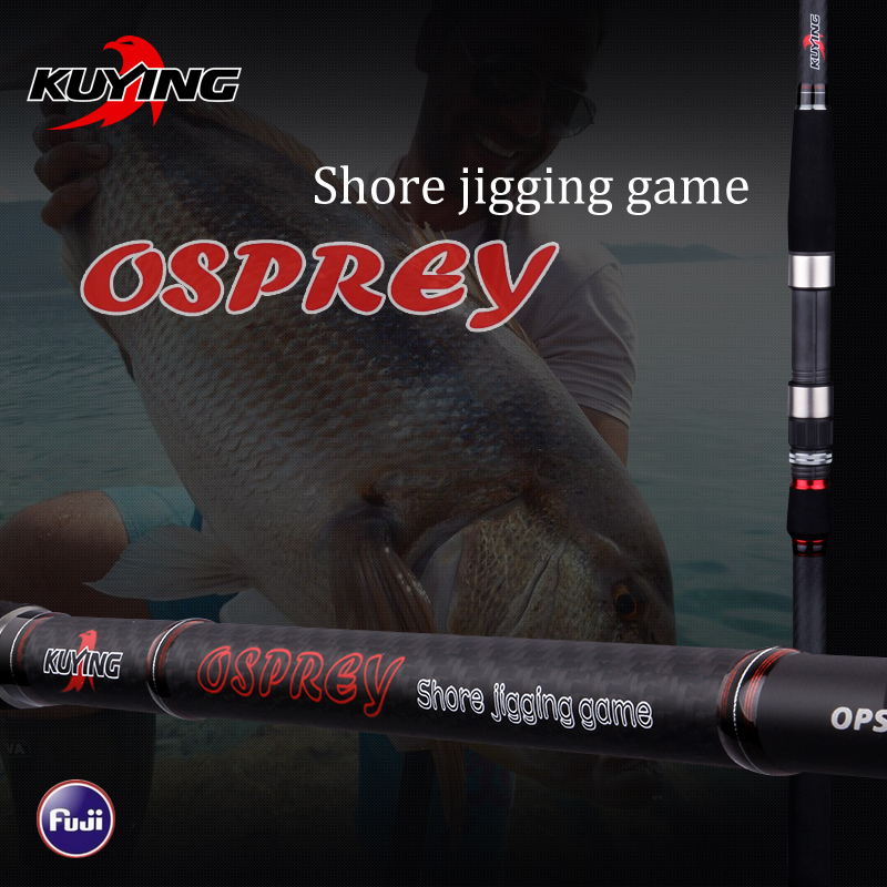 KUYING O-SPREY 2.9m 3m Shore Jigging Rods Spinning Lure Fishing Rod Pole Hard 2 Sections Carbon Fiber FUJI Parts Fast Action fish hunter road asian pole lightning rod grips quake 2 2 m mh tune fishing rods lrtc3 762mh