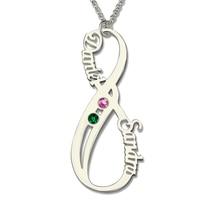 Infinito personalizada Nombre Collar con Piedra Natal Collar Parejas Verticales de Plata Collar de Regalo del Día de San Valentín Para Las Mujeres