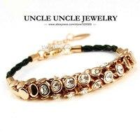 Rose Gold Màu Áo Rhinestone Studded Cổ Điển Bohemian Phong Cách Black Dây Lady Bracelet Bán Buôn