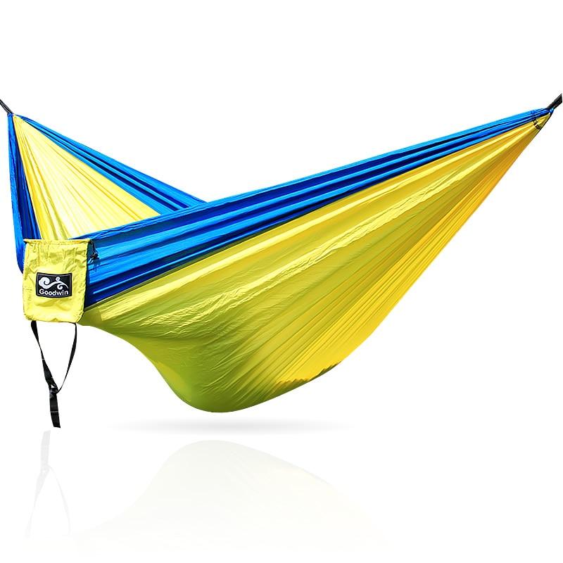 210T Nylon Hammock Portable Ultralight Parachute Nylon Camping Hammock Garden Swing Multi Color Double People Hamak