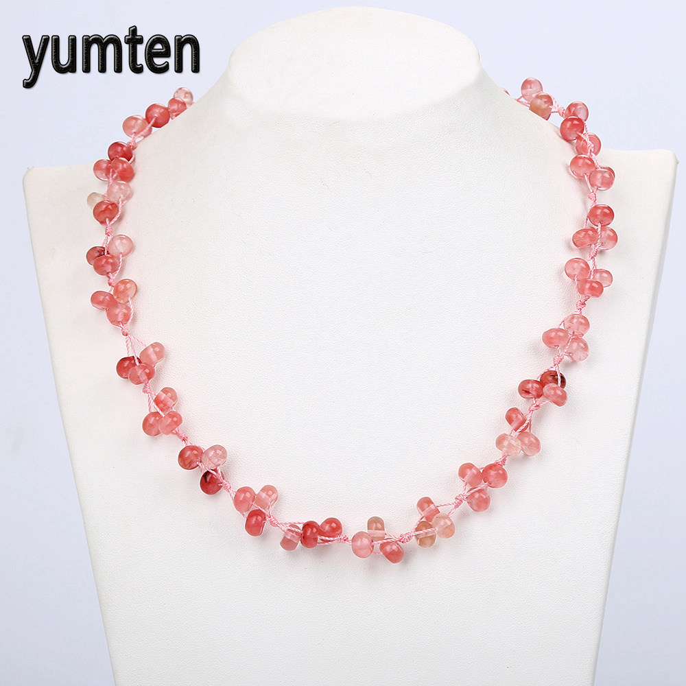 Yumten Cherry Quartz Woven Necklace Natural Stone Crystal Women Beads Fashion Jewelry Boutique Clavicle chain Wholesale 5 PCS