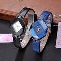 BSL827 Rhombic Case Women Dress Watch 18K Gold Plating Water Resistant Relojes PU Leather Strap Wristwatch