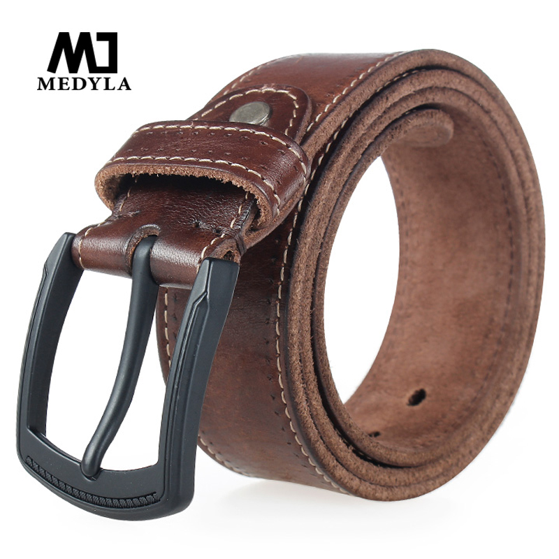 MEDYLA New Fashion Genuine Leather Man's   Belt   High Quality Anti-rust Alloy Buckle Retro Men's Casual Jeans Leather   Belt   MD534