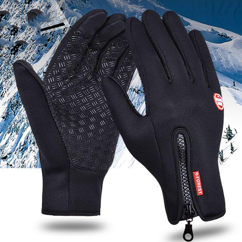 Winter Full Finger Neoprene PU Gloves Fleece Thermal Women Men Outdoor Gloves Touch Screen Waterproof Winter Sports Gloves