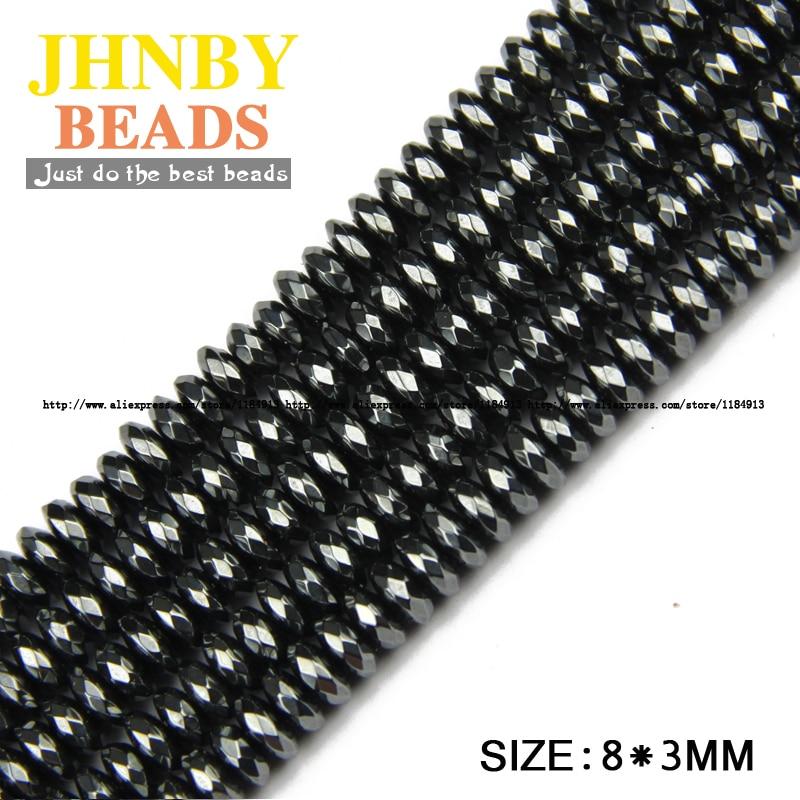 JHNBY AAA prirodni kamen crni hematit perle ravni okrugli faceted - Modni nakit - Foto 4