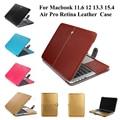 Moda pu leather case bolsa de la manga protectora de la cubierta case para macbook aire pro retina 11 12 13 case bolsa de ordenador portátil de 15 pulgadas