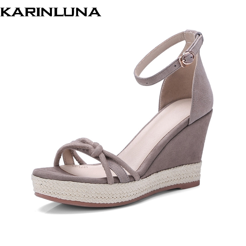 KarinLuna New women's Ankle Strap Wedges Kid Suede High Heels Solid Platform Shoes Woman Casual Summer Sandals phyanic 2017 gladiator sandals gold silver shoes woman summer platform wedges glitters creepers casual women shoes phy3323