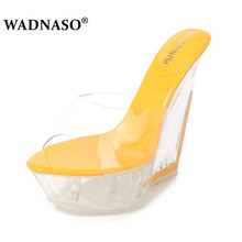 WADNASO Slipper Women Shoes Ultra-high Heels 14CM Thin Wedding Banquet Goddess Platforms Thick Bottom Model Catwalk