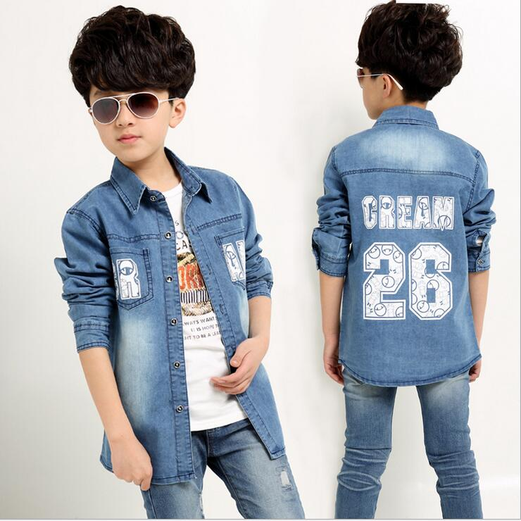 New Boys Jean Coats Kids Spring Autumn Letter Pattern Fashion Jacket Children Full Sleeve Handsome Clothes