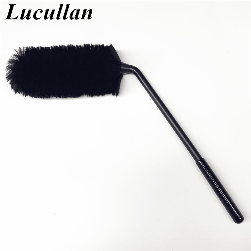 Lucullan Special Design Bend Shape Handle Car Rims Cleaning Tools Soft Fibers Woolies 100% Sheep Wool Car Wheel Brush