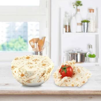 3pcs Beeswax Wrap Cloth + 3Pcs Degradable Organic Cotton Mesh Storage Bag Eco Friendly Reusable Food Fresh Keeping Sets 5