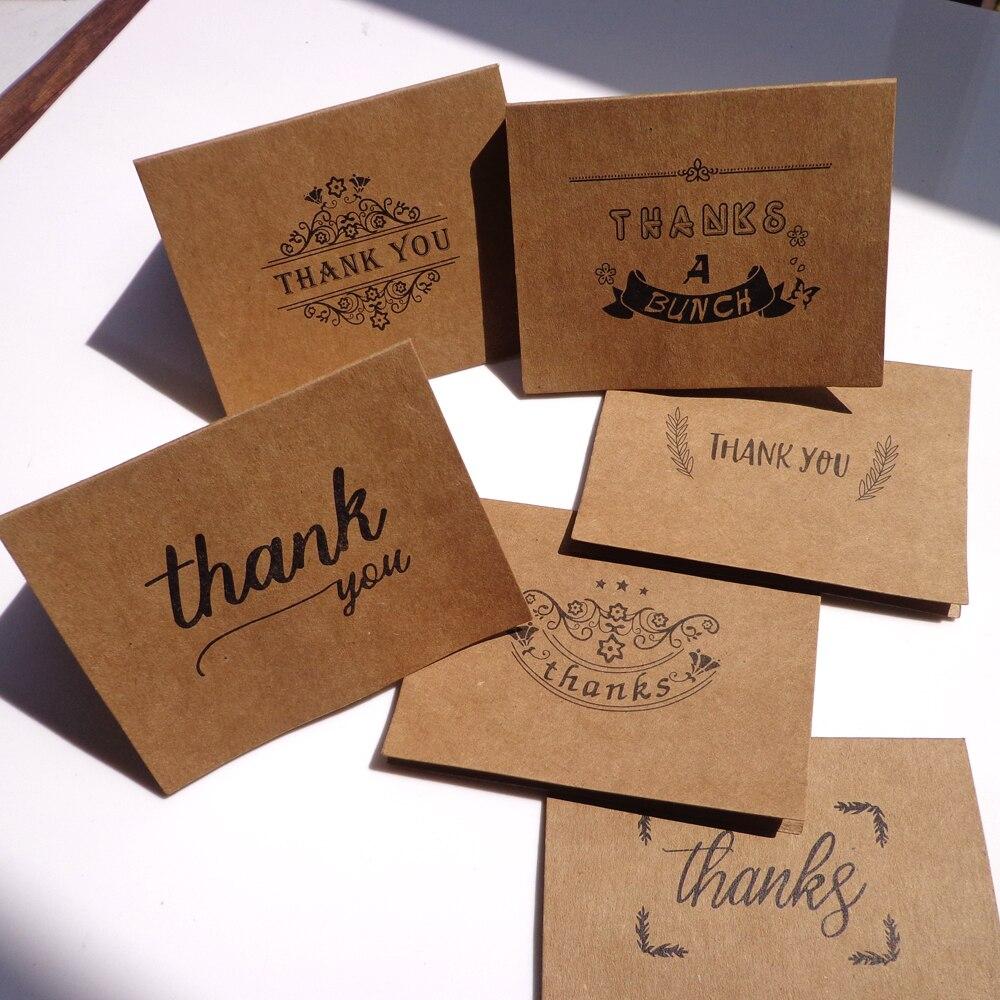 18pcs/pack (6pcs Kraft Thank You Cards 6pcs Paper Envelopes 6pcs Seal Sticker) Kraft Envelope Stationery Message Card Set