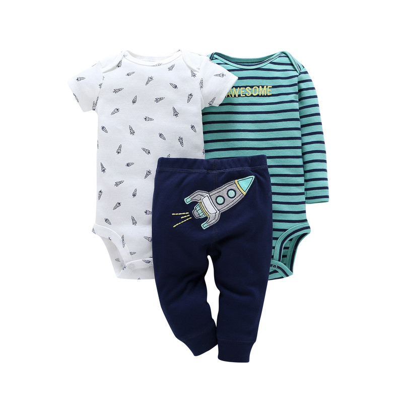 Long Sleeve Bodysuit Stripe+romper+pant Clothes Set For Baby Boy 2020 New Born Girl Outfit Newborn Summer Clothing Babies Suit