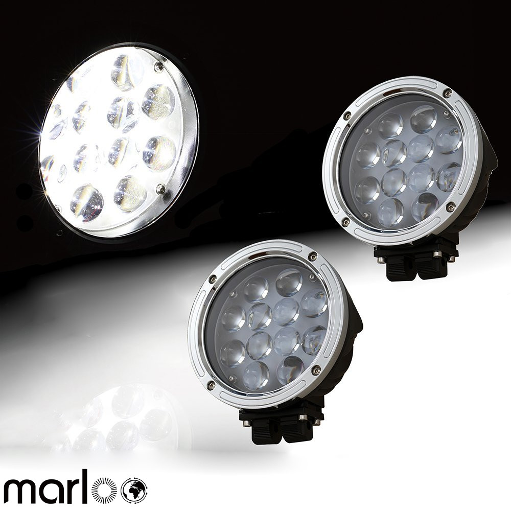 Marloo 7 Inch LED Work Light 60W Round Spot Driving Light For 4X4 Offroad Jeep Hummer Truck Train Boat SUV ATV UTV ( 2 pack )