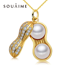[YKIN] Pearl Jewelry Natural Freshwater Peanut Necklace 925 Silver Fashion Chain Lady