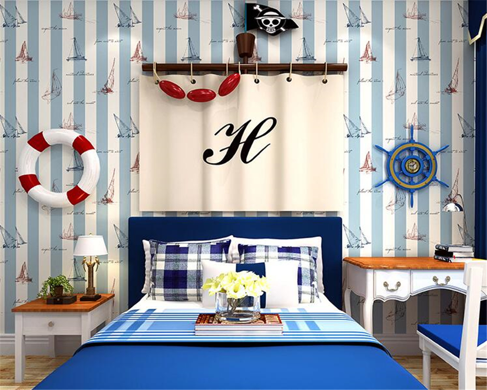 Beibehang Boys kids room wallpaper Mediterranean style blue vertical stripes Cartoon Nautical Sailing 3D Wallpaper papier peint beibehang mediterranean blue living room bedroom 3d wallpaper wood vertical stripes retro wallpaper for walls 3 d papier peint